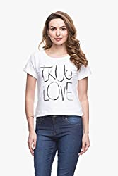 Womens Solid White T-Shirt