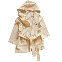Baby Terry Bath Robe For 12 ~ 36 Months, 100% Organic Cotton / Beige
