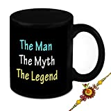 Rakhi Gift For Brother - HomeSoGood The Man The Myth The Legend Black Ceramic Coffee Mug With Rakhi - 325 ml