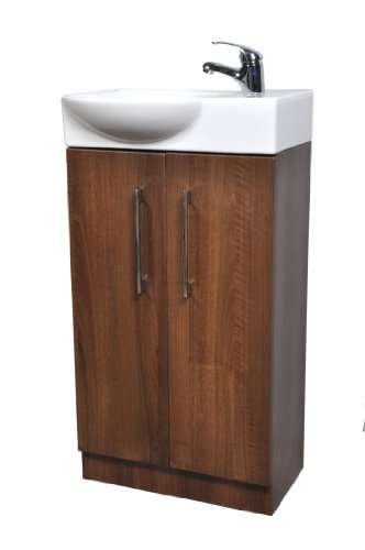 Cabinetsforbathrooms Dark Walnut Finish 450Mm 2 Door Cloakroom Vanity Unit With Curved Front Basin Sink And Rio Tap