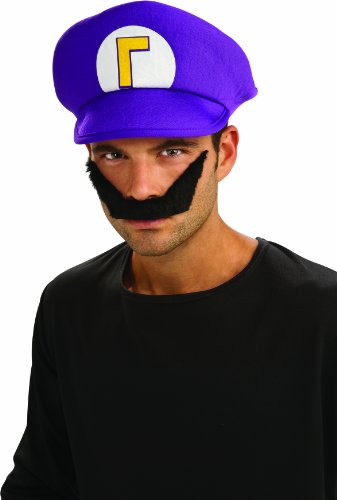 Super Mario Brothers Waluigi Hat And Mustache Kit