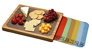 Seville Classics Bamboo Cutting Board with Removable Cutting Mats