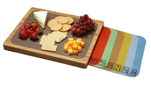 Seville Classics Bamboo 16-1/2-Inch by 13.4-Inch Cutting Board, 7-Multi-Color Mats