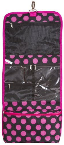 J Garden Black Pink Small Dots Cosmetic Hanging Bag front-968247