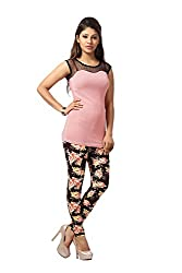 HIVA Women's Designer Printed Multi-color Poly Cotton Stretchable Leggings (Free Size)