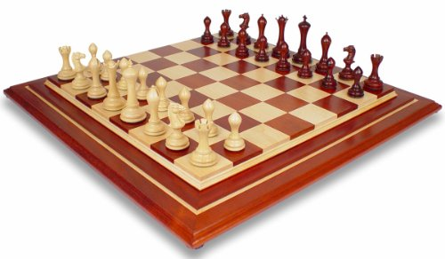 Gotham Contemporary Staunton Chess Set in Red Sandalwood & Boxwood with Premier African Padauk Chess Board - 4.4