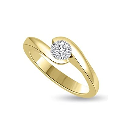 0.20 carat Diamond Engagement Ring for Women. H/SI1 Solitaire Round Brilliant Diamond in 18ct Yellow Gold