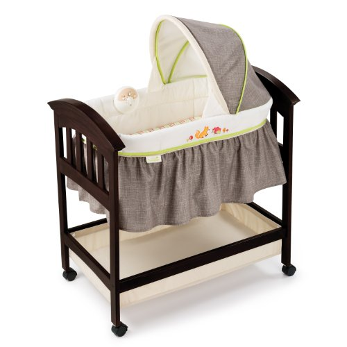 Best Buy! Summer Infant Classic Comfort Wood Bassinet, Fox and Friends, Espresso Stain
