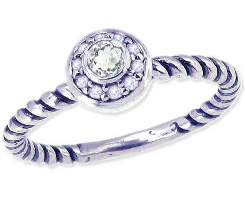 Twisted Sterling Silver Stackable Ring with Round Genuine Gem and Diamond-White Topaz-in full,half,quarter sizes from 4 to 12_7