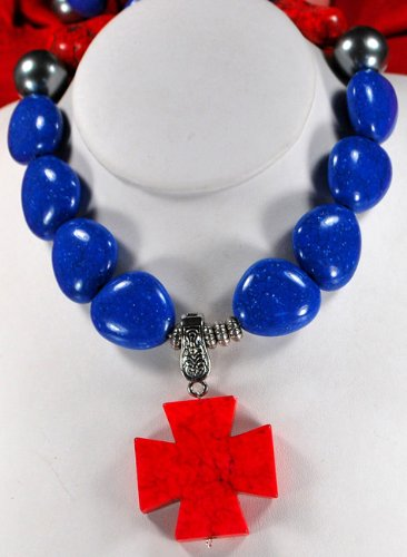 Blue/Red/ White Turquoise Silver Necklace N2_0517_23