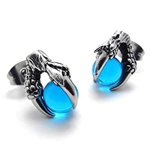 KONOV Jewelry Vintage Stainless Steel Dragon Claw Mens Stud Earrings for men Set, 2pcs, Color Silver Blue (with Gift Bag)