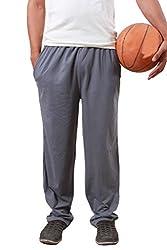 Colors & Blends -Medium Grey- Cotton blended Track Pants with Zipper Pockets- Size XXXL