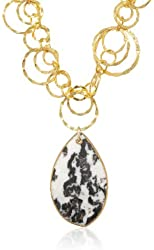 Devon Leigh Snow Leopard Agate Pendant Necklace, 19""