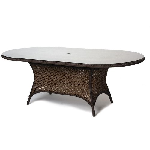 Lloyd Flanders Grand Traverse Woven Vinyl 84 Inch Oval Outdoor Patio Dining Table With Glass Top - Caramel Finish