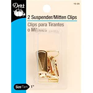 Dritz Mitten/Suspender Clips 2/Pkg-Gilt - For making suspenders and mittens clip to garments - 2/pkg