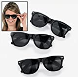 Vintage Black Wayfarer Style Sunglasses (Qty. 12 Pack)