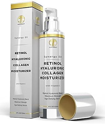 Retinol, Hyaluronic Acid, Collagen, Vitamin C, Anti-Aging, Anti-Wrinkle Huge Cream 4.0 - Face, Night Firming Moisturizer, Cleanser for Sensitive Skin for Men, Women