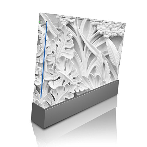 flowers-and-leave-marble-sculpture-motif-wii-console-vinyl-decal-sticker-skin-by-moonlight-printing