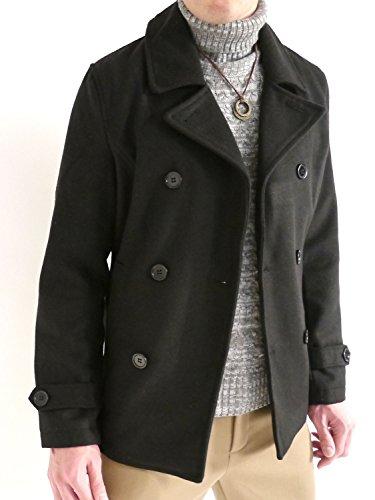 (オークランド) Oakland メルトン ウール Pコート コート ピーコート デザイナーズ 起毛 MODE デザイン 防寒 メンズ ブラック Sサイズ