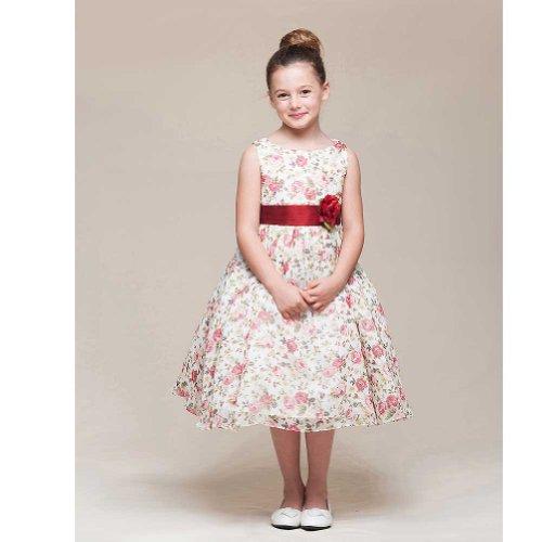Crayon Kids Ivory Red Burgundy Rose Flower Girl Dress Toddler Girl 3T front-930074