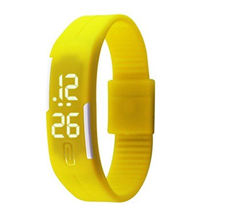 Glitter Collection Glitter Led Digital watches Jelly Black wristwatch Magnet lock yellow for Unisex