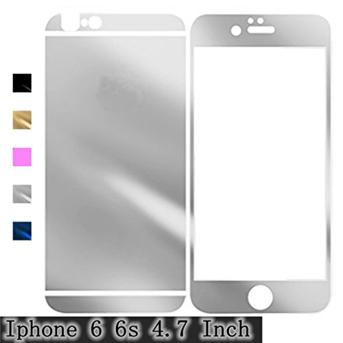 Silver iPhone 6 6S Electroplating Mirror Effect Anti Scratches Gravydeals® Fashion Premium Diamond Tempered Glass Screen Protector Film Decal Skin Sticker for Apple iPhone 6 6S 4.7 Inch