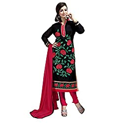 Manthan Chanderi Black Embroidered Women's Chudidar Suit MNTKFMFDRMG36105
