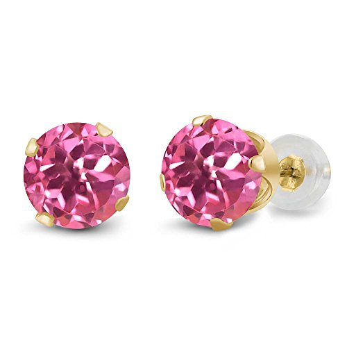 14K Yellow Gold Round Pink Mystic Topaz 4-prong Stud Earrings (2.00 cttw, 6mm)