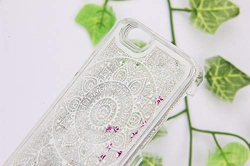 IKASEFU Funny Creative Hard Clear Glitter Flowing Glitter Sparkle Silver Stars Dymamic Liquid Case Cover for iphone SE/5S/5-Dreamcatcher