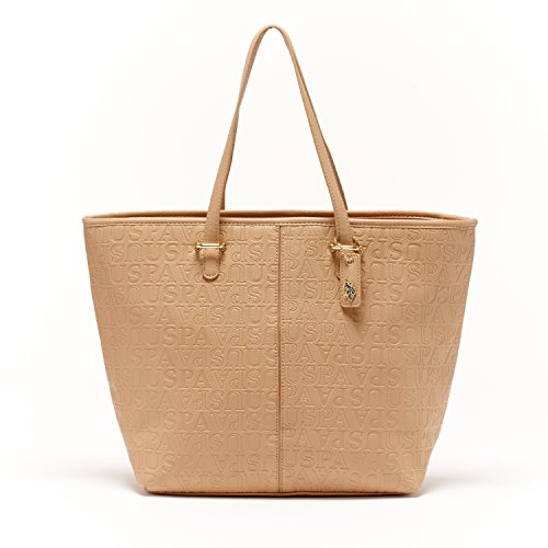 us-polo-assn-designer-handbags-womens-heather-embossed-satchel-bag-tan-multiple-color-available