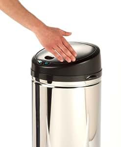 Honey-Can-Do TRS-01200 Stainless Steel Round Sensor Trash Can, Chrome, 36-Liter