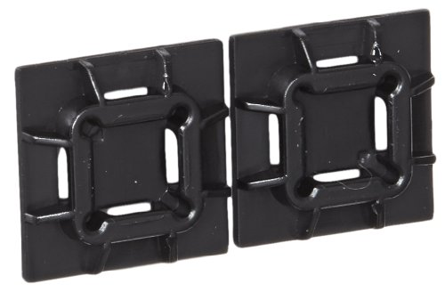 Panduit SGABM20-AV-C300 Super-Grip Adhesive Backed Cable Tie Mount, Pre-Installed Adhesive, Outdoor/High Temp, Heat Stabilized Weather Resistant Nylon 6.6, High Bond Acrylic Adhesive Mounting Method, Black (Pack of 100) (Heat Resistant Cable Ties compare prices)