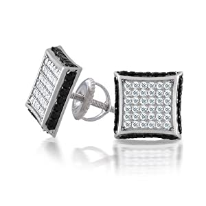 Bling Jewelry Black and White Screw Back Earrings Micropave CZ raised Square Studs