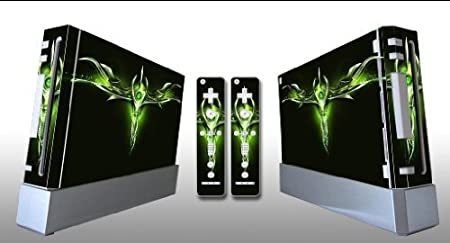 Bundle Monster Vinyl Skins Accessory For Nintendo Wii Game Console - Cover Faceplate Protector Sticker Art Decal - Green Dagger