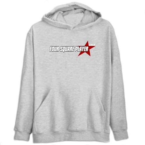 Four Square Player Usa Star Sports Mens Hoodie (Heather Gray, Size Large)