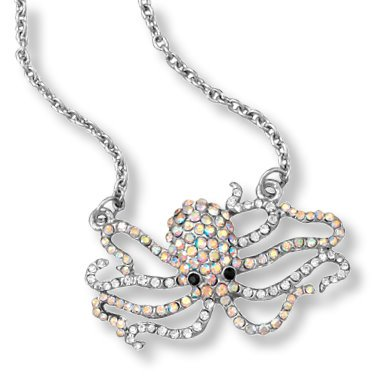 Octopus Necklace with AB Rainbow Crystals Adjustable Length