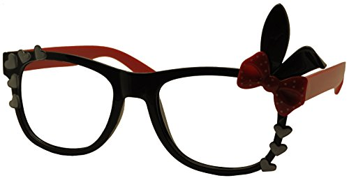 FancyG® Cute Fashion Glasses Frame Rabbit Ear Bow Tie NO LENS - Black with Red Arms