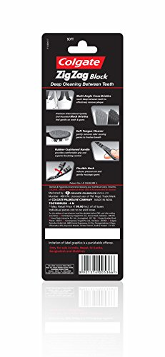 Colgate Zig Zag Black Medium Toothbrush Saver Pack - 4 Brushes (Save Rs 21)
