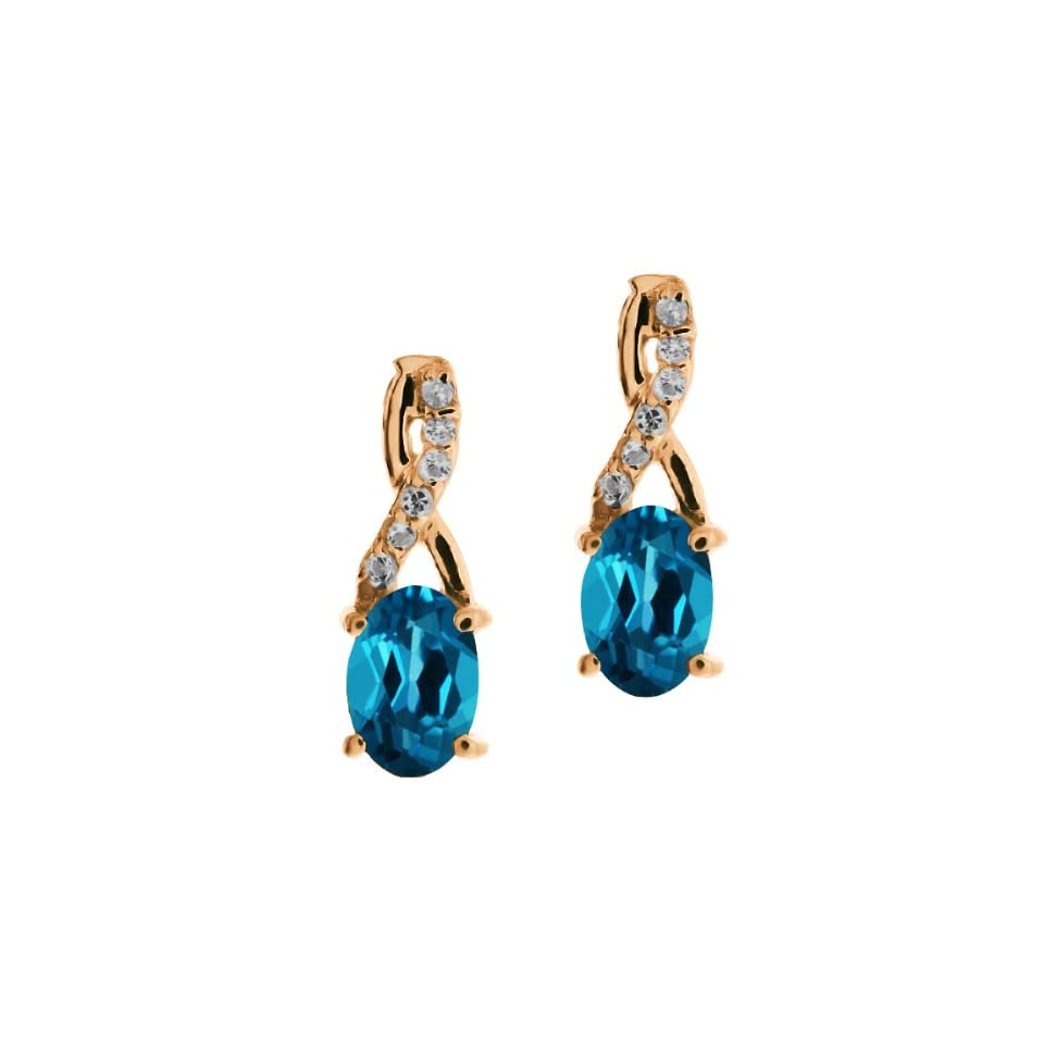 1.17 Ct Oval London Blue Topaz Rose Gold Plated Sterling Silver Earrings