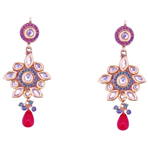 Aditri Aditri CHARMING KUNDAN COPPER EARRINGS (Multi) (DN 137) (Multicolor)