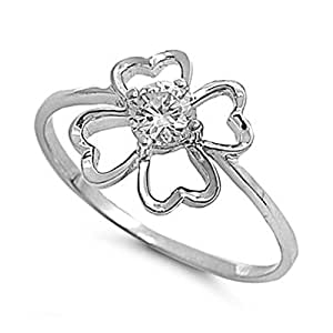 Sterling Silver Four Leaf Clover Ring with Clear CZ Stone - size5