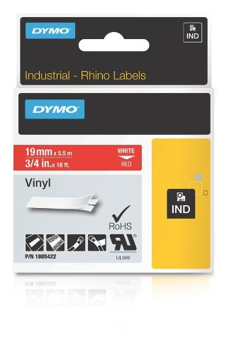Dymo Rhino Adhesive Vinyl Label Tape, 3/4-Inch, 18-Foot Cassette, Red (1805422)
