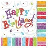 16 X 3-Ply Lunch Napkins - (happy birthday) Radiant Birthday