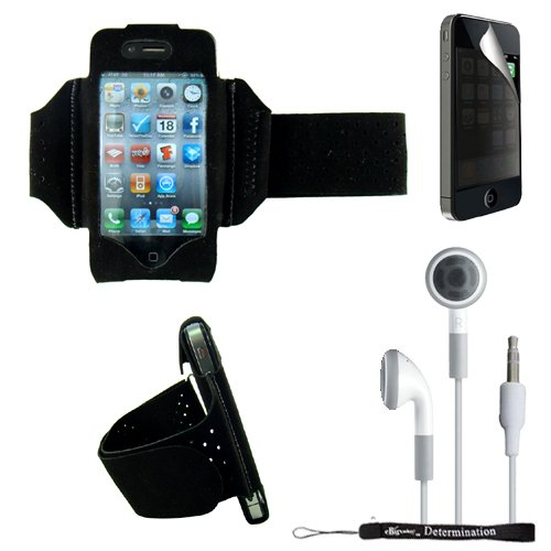 Extreme Sports Exercise Stretchy Black Armband with 8 Secure Adjustable Sizes ( Adjustable from 11 inches up to 19 Inches ) for Apple iPhone 4 , 4th Generation, 4th Gen compatible with 16GB / 32GB - HD Print + Includes a eBigValue (TM) Determination Hand Strap + Includes a Privacy Screen Protector for Apple iPhone 4, Provides 4-way privacy film (up, down, left, right) + Includes a Crystal Clear High Quality HD Noise Filter Earbuds Earphones Headphones 3.5mm Jack
