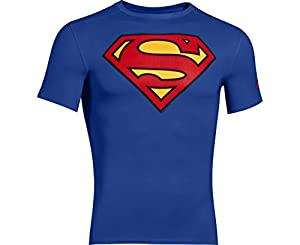 Mens Under Armour Superman Compression Shirt Blue Size Small