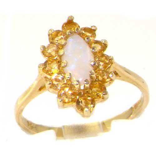 Solid English Yellow Gold Ladies Stunning Luxury Marquise Fiery Opal & Citrine Cluster Ring - Size 12 - Finger Sizes 5 to 12 Available - Suitable as an Anniversary ring, Engagement ring, Eternity ring, or Promise ring