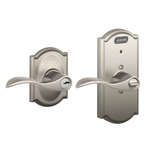 Schlage Fe51V Acc 619 Cam Camelot Style Keyed Entry Accent Lever With Built-In Alarm, Satin Nickel front-1030918
