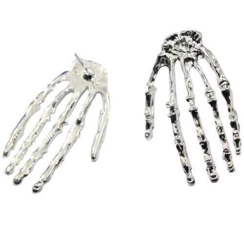 Zehui Silver Fashion Hot Gothic Cool Rock Punk Skeleton Skull Hand Ear Stud Earrings