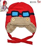 Add wool earmuffs pilot children knitted hats Knitted Skating Ski Caps with Ear Flaps Windproof with Glasses Red