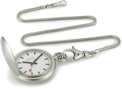 Mondaine Pocket Watch Savonnette II A660.30349.16SBB with White Round Dial and a Snake Chain
